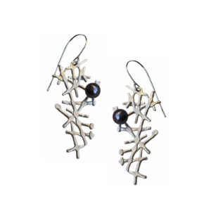 Asymmetric silver lace earrings with pearls by Katerina Damilos