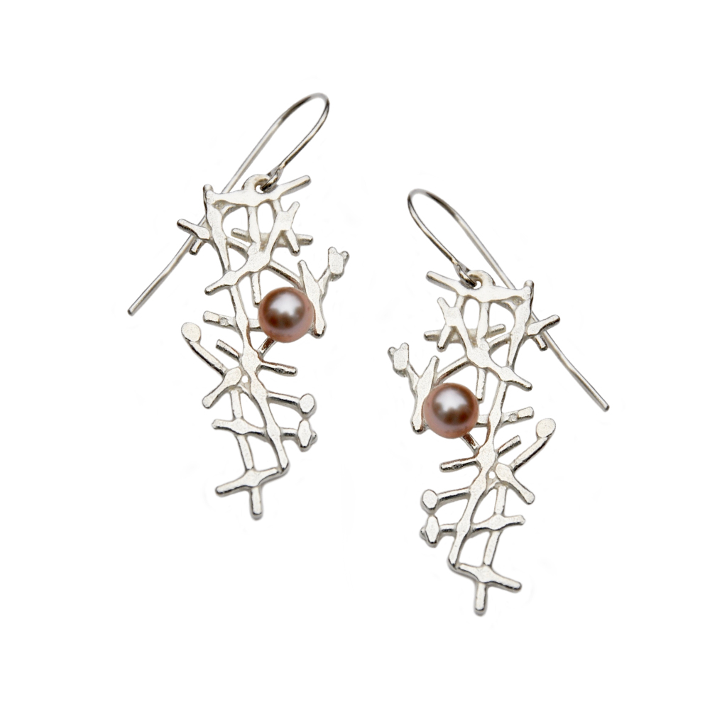 Silver lace earrings with blush pearls by Katerina Damilos