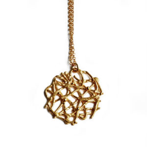 Lace necklace in gold plated silver by Katerina Damilos