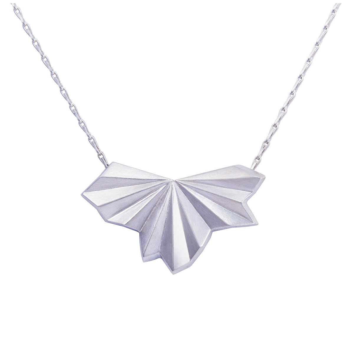 Silver Pleated Fan Necklace by Alice Barnes Jewellery