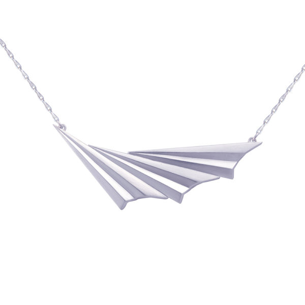 Silver Pleated Wave Necklace by Alice Barnes Jewellery