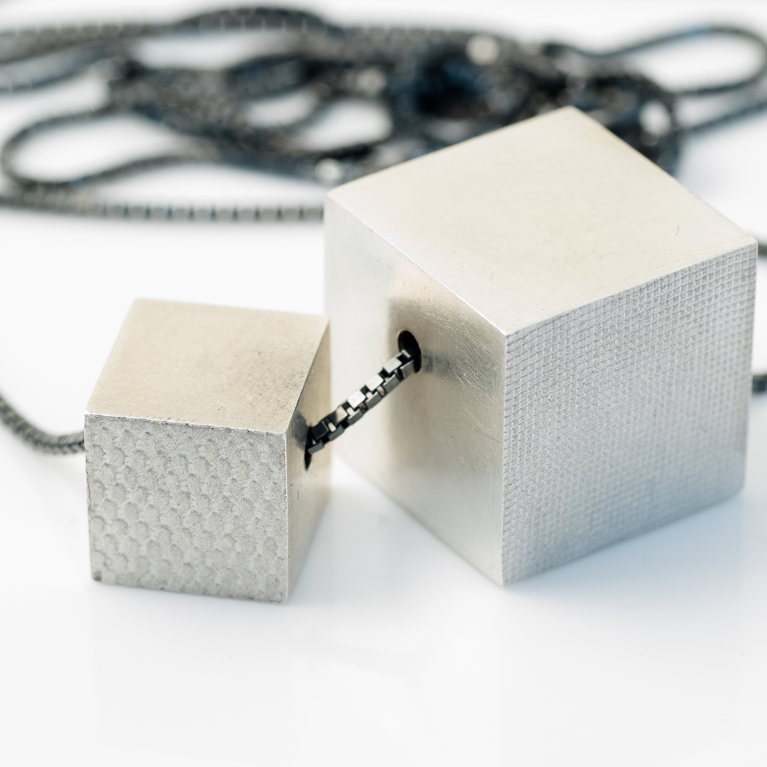 silver double cube necklace