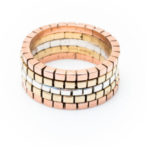 Cube mosaic rings set
