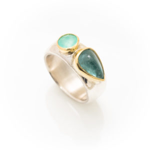 Silver ring with Topaz and Opal