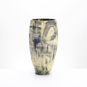 Yellow Grey Charcoal Contemporary Vase. Inspired by Stars, Galaxies and our Expanding Universe.