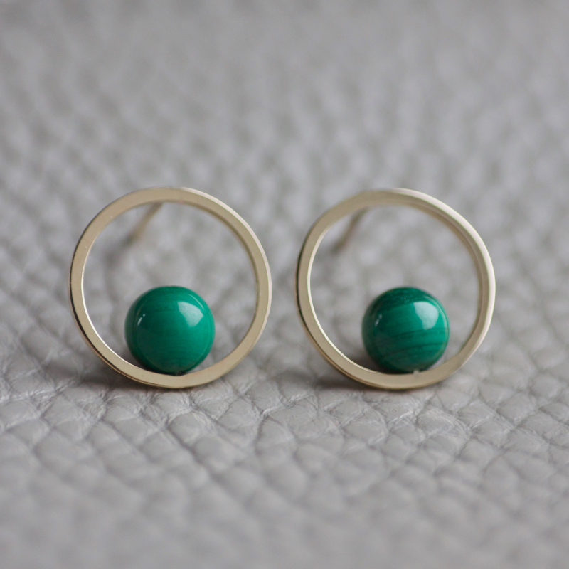 GEOM 9ct Malachite Hoops
