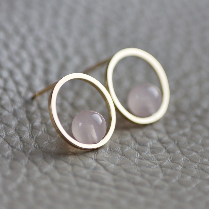 GEOM 9ct Rose Quartz Hoops 2