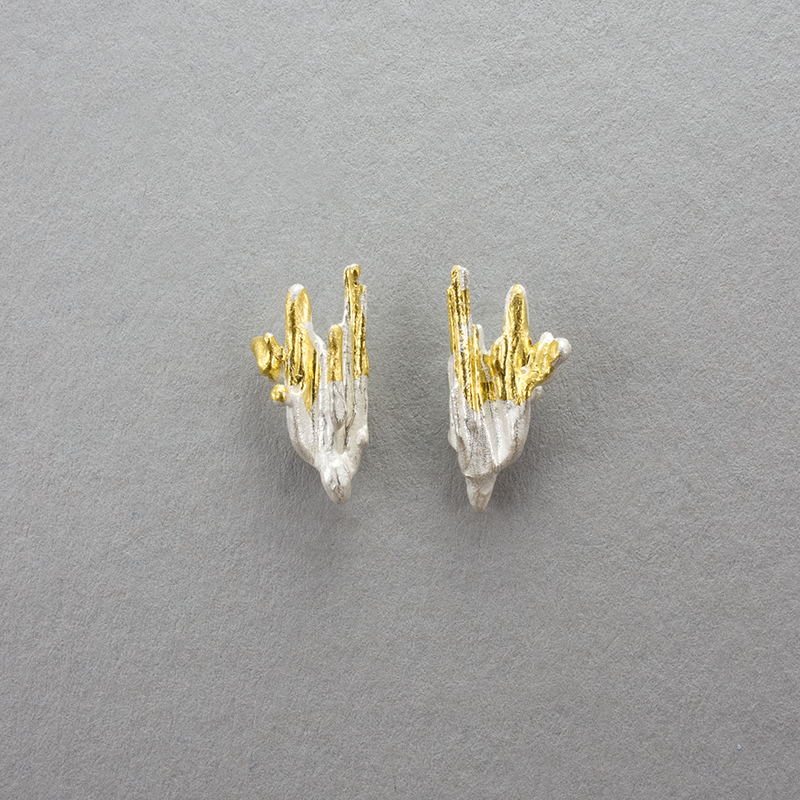 Molten leaf studs with 24ct gold web