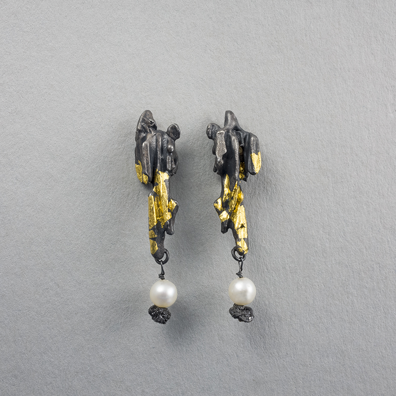 Molten precipice earrings in oxidised silver and 24ct gold web