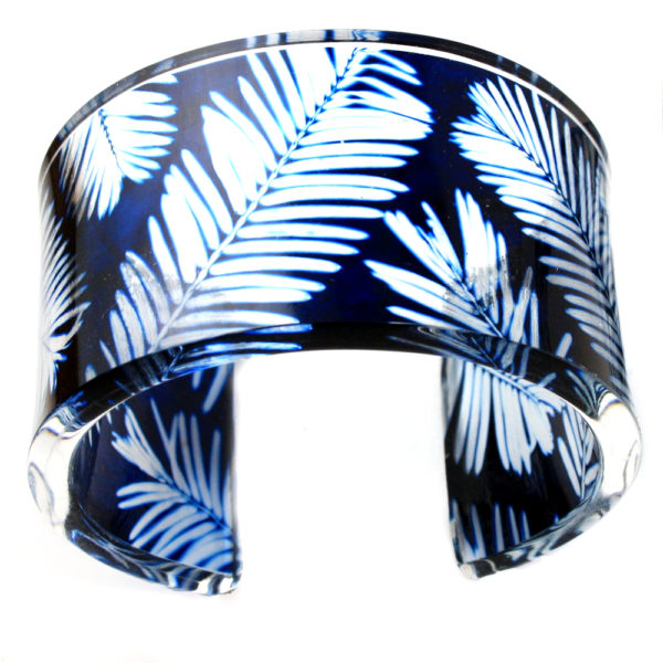 'Navy Conifer Cuff 45mm' www.suegregor.com