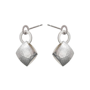 Silver Pillow Drop Earrings
