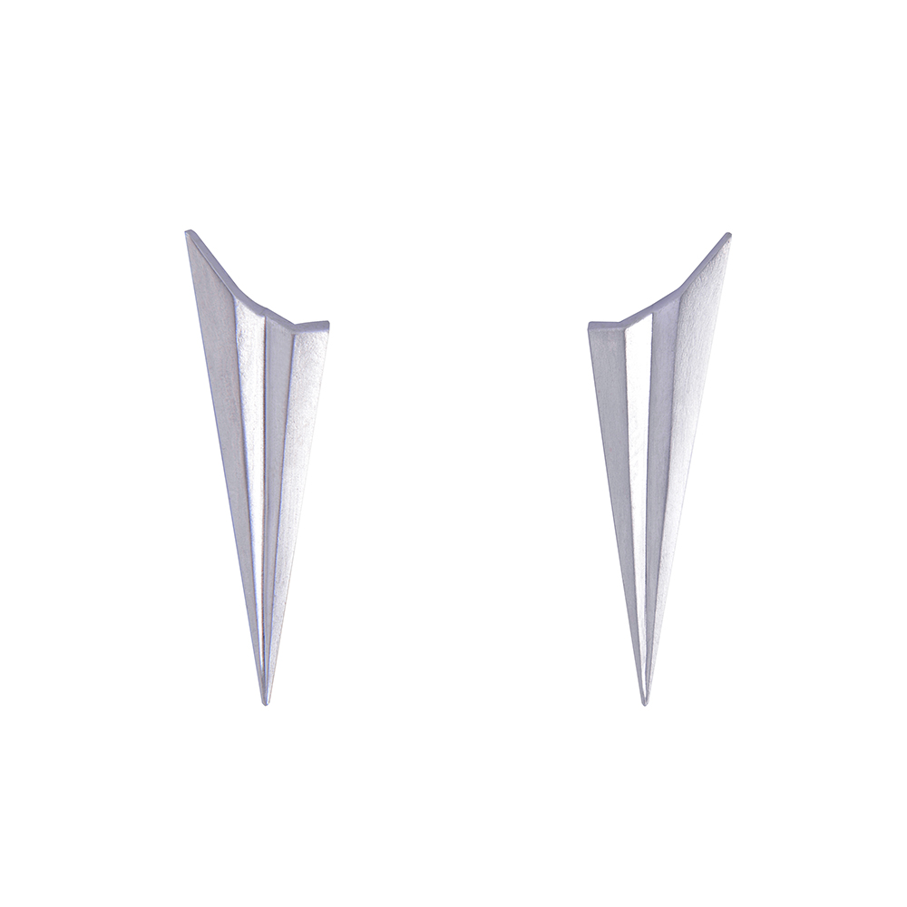 Pleated Long Studs Silver