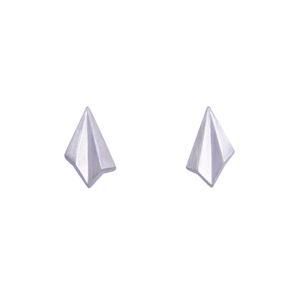 Silver Pleated Mini Studs by Alice Barnes Jewellery