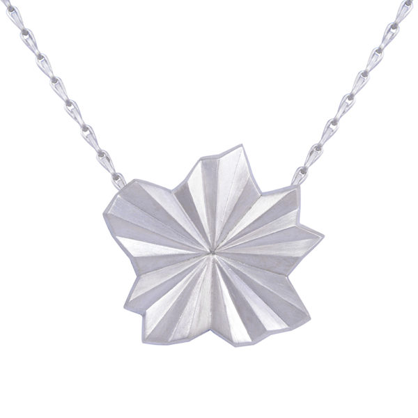 Silver Pleated Star Necklace by Alice Barnes Jewellery