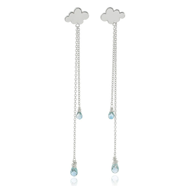 Sterling silver April showers rain cloud drop earrings