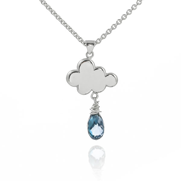 Sterling silver handmade raincloud necklace