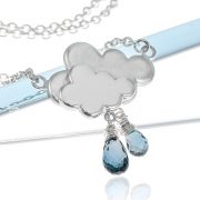 Sterling silver blue topaz gemstone raincloud British weather ne