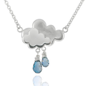 Sterling silver blue topaz gemstone raincloud necklace
