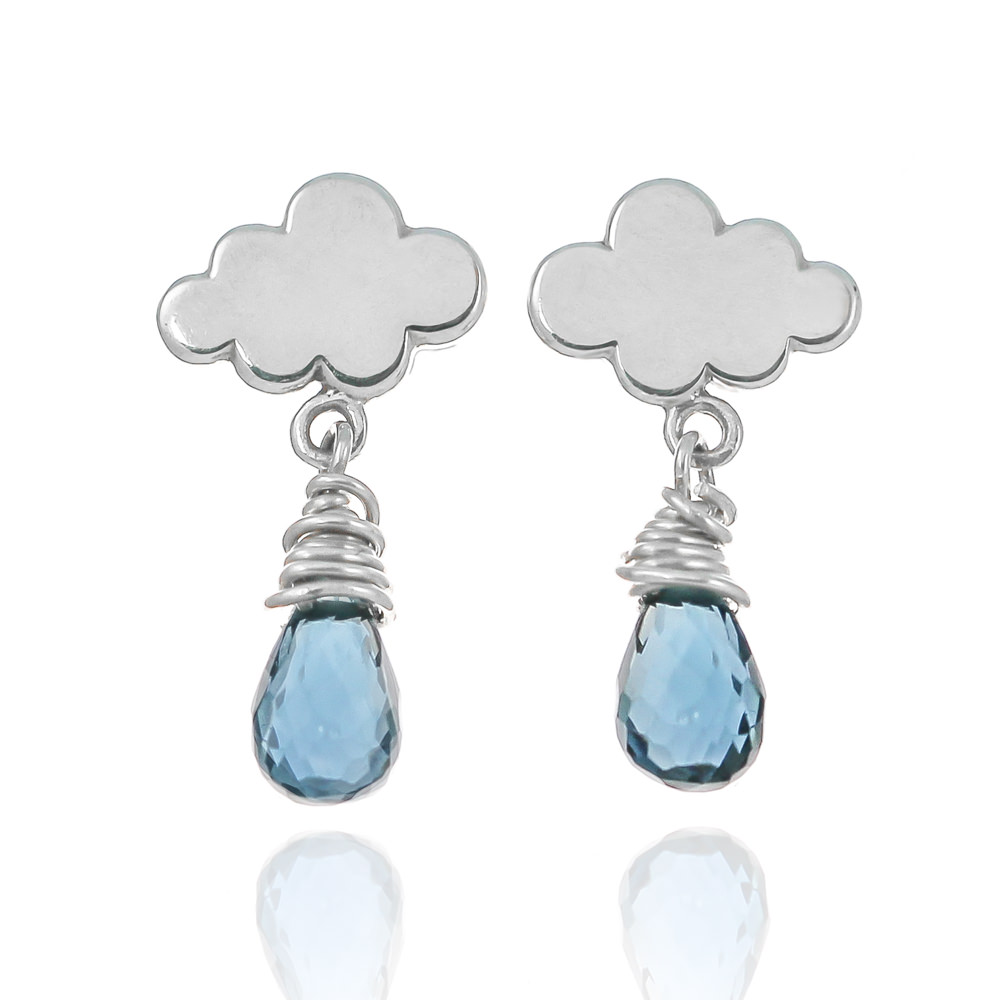 Sterling silver blue topaz gemstone tiny raincloud earrings hand