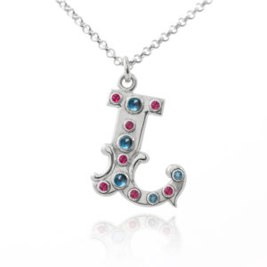 Sterling silver circus letter initial necklace with gemstones