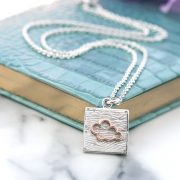 Sterling eco silver and rose gold cloud neon art necklace