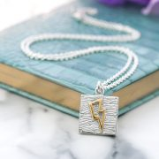 Sterling silver and gold lightning bolt neon art necklace