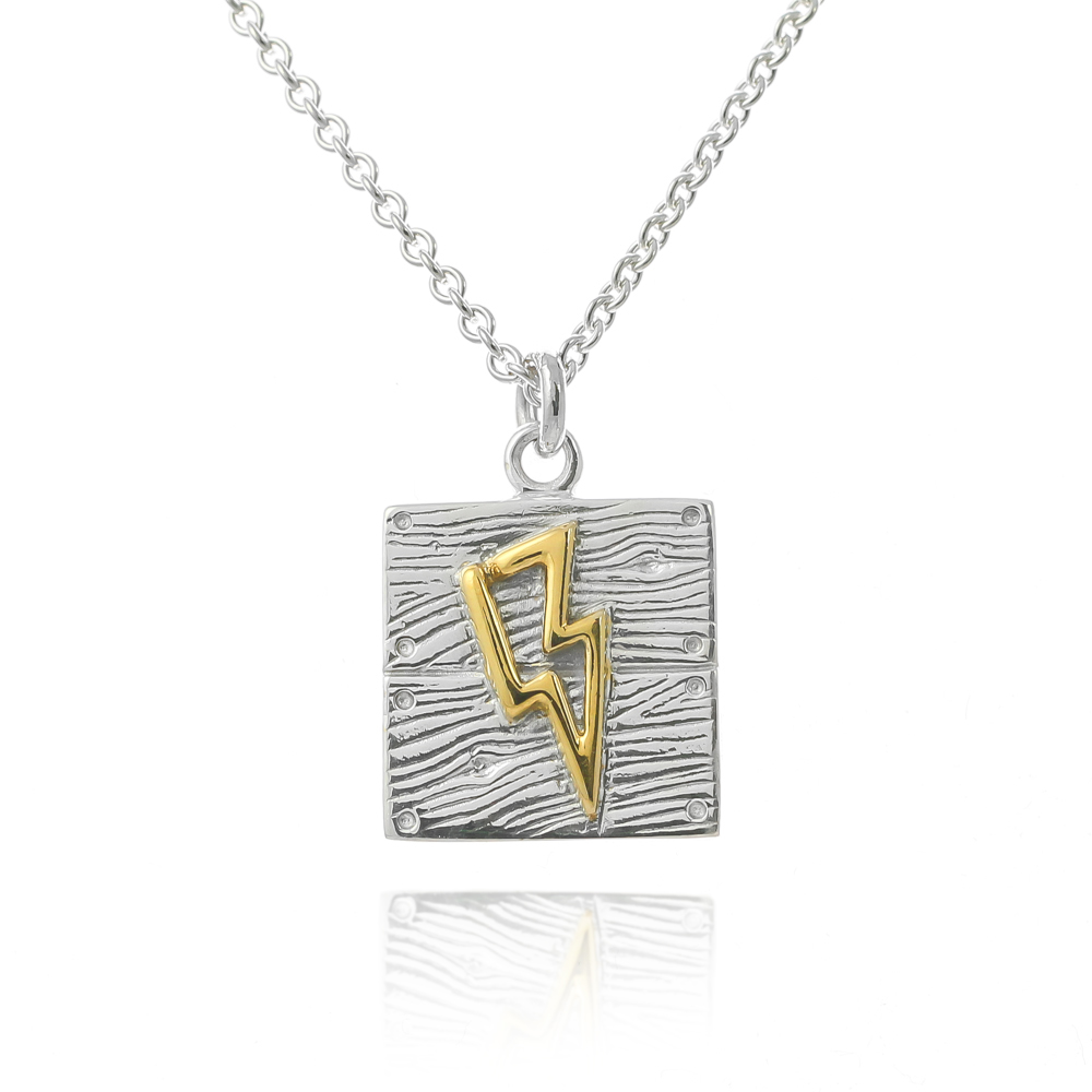 Sterling silver gold lightning bolt neon art necklace