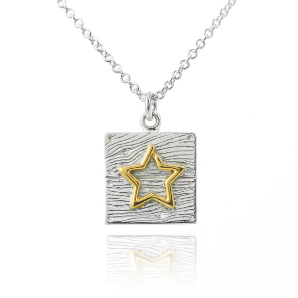 Sterling silver neon art square gold star necklace