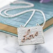 Sterling silver and rose gold neon art love wood plank necklace