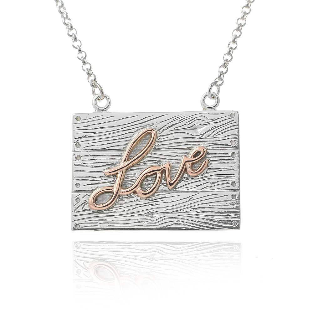 Sterling silver and rose gold neon art love necklace wood planks