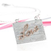 Sterling silver and rose gold neon art urban necklace