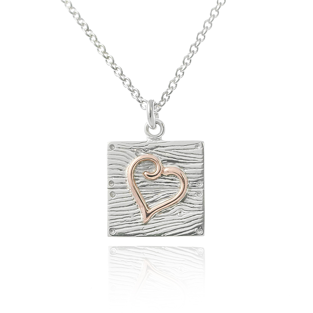 Sterling silver and rose gold neon art heart wood texture neckla