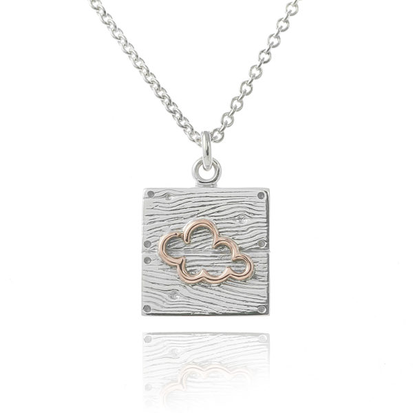 Sterling silver rose gold neon art cloud necklace