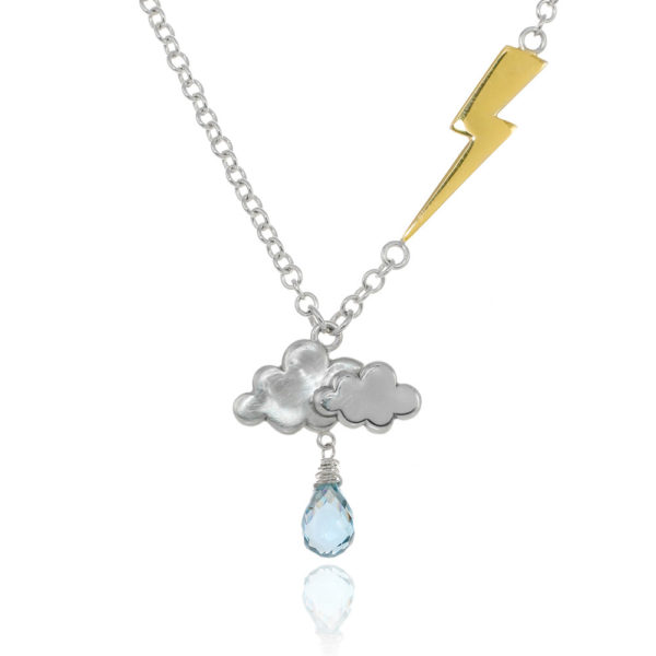 Sterling silver thunderstorm cloud and lightning bolt necklace