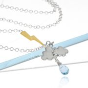 Sterling silver thunderstorm raincloud lightning necklace