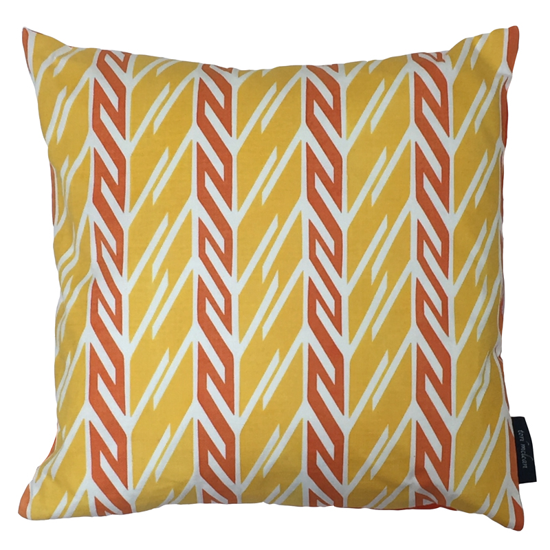 Tori McLean Butterfly Stripe Yellow Orange Cushion Front