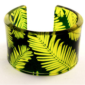 cuff, bracelet, conifer, perspex, acrylic, plastic, recycled plastic, yellow, green,