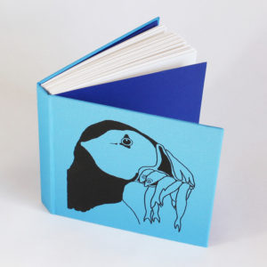 Blue puffin sketchbook