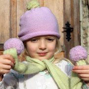 cashmere pompom hat and scarf for children