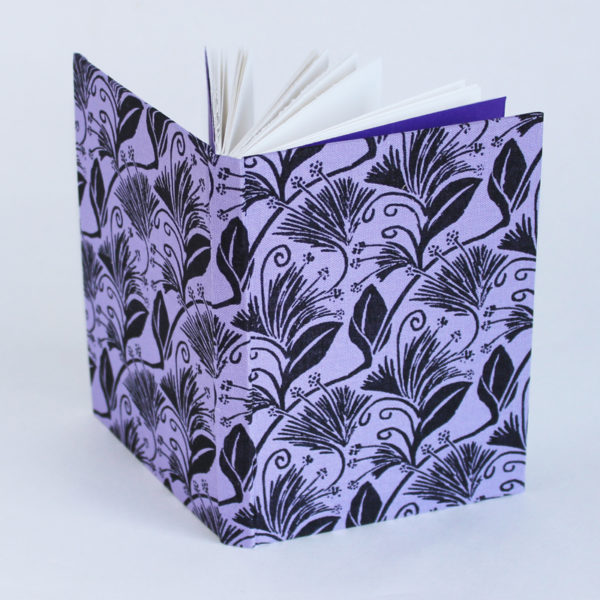 A6 notebook with hand printed covers