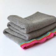 pure cashmere ponch with striped border