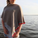 pure cashmere poncho with silk striped band