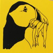 puffin sketchbook front cover on yellow