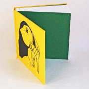 Puffin sketchbook in yellow with green endpapers