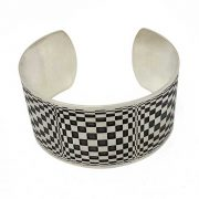 silver cuff with opart design flat