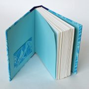 Small square notebook in blues