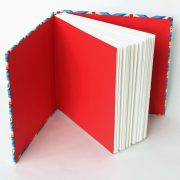 vintage style fabric sketchbook with red endpapers
