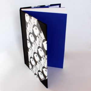 A5 puffin sketchbook with blue endpapers