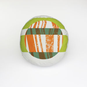 Round Box cushion with 'Tectonic' design in green and orange