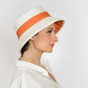 7541d7c2 Giulia red straw brimmed percher with veil - Handmade in Britain